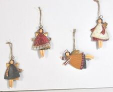 4 DANCING TIN CHRISTMAS ANGEL TREE ORNAMENTS W/BRIGHTLY PAINTED FROCKS