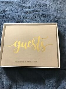 New Elegant All Occasion Fabric Covered Guestbook beige, gold lettering