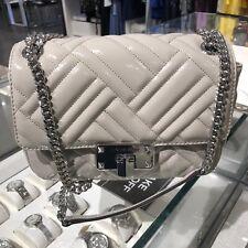 Michael Kors Womens Medium  Leather Shoulder Bag Handbag Purse Chain Grey Silver