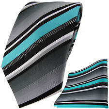 TigerTie Designer Krawatte + Einstecktuch in türkis silber grau weiss gestreift