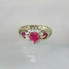 Ruby Heart Simulant & Diamond Cluster Ring 9ct Yellow Gold  Size M1/2