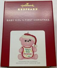 Hallmark 2021 Baby Girl's First Christmas Pink Bear Ornament New with Box