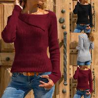 UK Women Winter Long Sleeve Sweater Ladies Knitted Tops Plus Jumper Knitwear