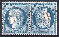 "FRANCE YVERT 60A SCOTT 58b "" CERES 25c TETE BECHE PAIR "" USED VVF SIGNED P296"