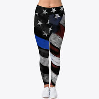 Thin Blue Line American Flag Women's Print Fitness Stretch *Leggings* Yoga Pants