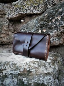 Knife Roll Leather Bag Folding Pocket Knives Pouch Rolled Wrap