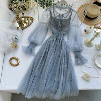 Women Lace Sequin Star Dress Mesh Shiny Fairy Glitter Lolita Puff Sleeve Sheer