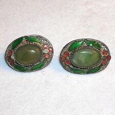 Antique Vintage Chinese Export Gilt Silver Vermeil Enamel Jade Filigree Earrings
