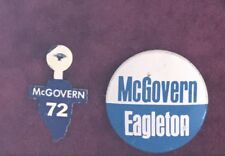 1972 McGovern Eagleton DNC DEMOCRATIC PARTY Illinois '72 lapel tab pin Democrat