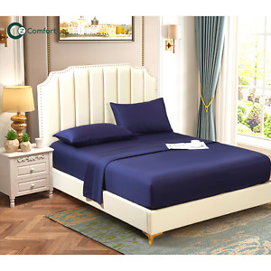 Lyocell Tencel Cooling Bedsheets Soft Breathable Queen Flat Sheet Navy Blue