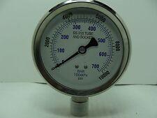 """301L-402U 4"""" Glycerin Filled Stainless Steel Gauge 1/2"""" NPT LM 0/10000 psi"""