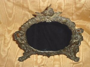 Victorian / Art Nouveau Cast Iron Kissing Cherubs Ornate Tabletop Easel Mirror