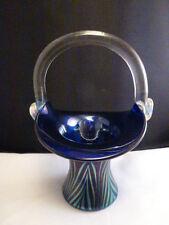 Vtg Lundberg Studios   Favrile Art Glass Brides Basket Bowl