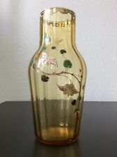 Vase verre soufflé à côtes vénitiennes coloré jaune émaillé décor floral Legras
