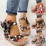 ❤️Women Ankle Buckle High Heel Wedge Sandals Peep Toe Espadrilles Platform Shoes