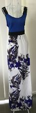 Women's Dress MAXI Sz XL(small) Au Blue/White/Grey Floral Sleeveless BNWT