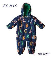 Baby Boys Pramsuit Snowsuit Winter Coat Warm Hooded Fleece Lined RRP £25 ABC NEW