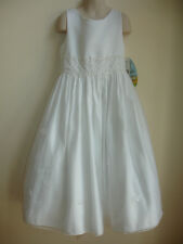 NWT CINDERELLA GIRLS PAGEANT DRESS size 8 PURE WHITE EMBROIDERED WEDDING NICE