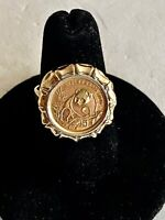 SIZE 6.75- SOLID 14K YELLOW GOLD RING & 5 YUAN 1/10 OZ 999 FINE GOLD PANDA COIN
