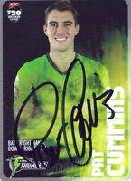 ✺Signed✺ 2014 2015 SYDNEY THUNDER Cricket Card PAT CUMMINS Big Bash League