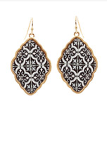 NEW!! INSPIRED MOROCCAN FISH HOOK BAROQUE EARRINGS - BLACK/WHITE