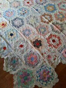 Vintage Quilt Top Unfinished Grandma's Flower Garden 78 x 86
