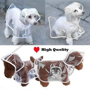 Clear Dog Raincoat Waterproof Outdoor pet Doggie Rain Coat Rainwear Clothes SML