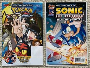 Pokemon Sun & Moon #1 & Sonic/Mega Man Worlds Unite Prelude #1 (FCBD) NM/M!