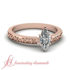 1 Ct GIA Certified Marquise Cut Diamond Floral Chain Solitaire Engagement Ring