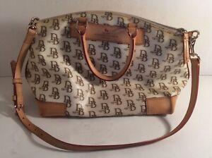 """Dooney & Bourke White 1975 Signature Anniversary Coated Handbag 15"""""""