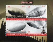 Madagascar 2018 MNH Zeppelins Zeppelin 4v M/S Airships Aviation Stamps