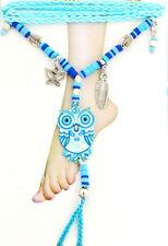 Fußkettchen Zehenring Fußkette Fußschmuck Eule Emaille Baumwoll Hippie Boho
