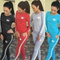 Women Sport Tracksuit 2 Pcs Set Sweatshirt Tops Jogger Pants PulloverLadies Suit