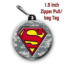 Two Superman Zipper Pull Bag Tags with Camo Background Large 1.5 Inch Charm