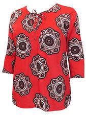 Ulla Popken Plus Size 18/20 24/26 28/30 Cotton Tunic Print Orange Blouse 260