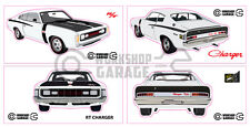 Chrysler Valiant Charger R/T - WHITE - Sticker 4 LARGE STICKERS