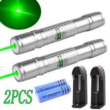 2Pcs 990miles Green Laser Pointer Pen Single Beam Rechargeable Lazer Torch Light