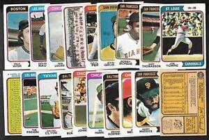 1974 OPC O PEE CHEE TOPPS MLB BASEBALL CARD 1-660 & TEAM CHECKLIST SEE LIST