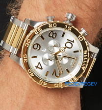 Genuine NIXON Watch 51-30 CHRONO GOLD & SILVER A083-1921 StainlessSteel A0831921