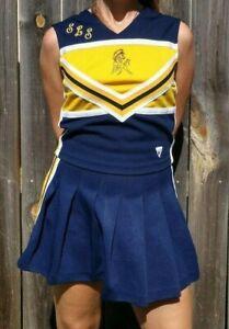 Real Authentic Varsity School Cheerleading Uniform Cheer Skirt Top Blue Yellow