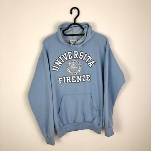 Vintage Universita Firenze Retro Spell Out LogoHoodie Sweatshirt Blue - Medium