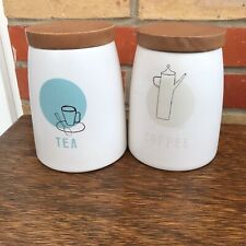 Tea Coffee Cannisters from Maison, Woolworths Teal / Grey / Cream Wooden Lids