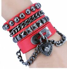 Y-blue Multilayer Bracelet Fashion Punk Leather Woven Braided Cross Bangle Cuff