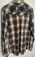 Affliction Embroidered Western Plaid Mens LG Button Up Shirt Metal Cross Buttons