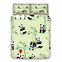 Single/Double/Queen/King Bed Quilt/Doona/Duvet Cover Set Panda Pillowcase