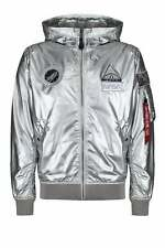 ALPHA INDUSTRIES Limited Edition NASA Metallic Hooded Jacket | Silver