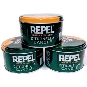 Repel Citronella Candle Repels Mosquitoes Flying Insects Lot of 3 - 10oz Cans