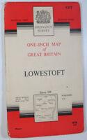 Old Vintage 1962 OS Ordnance Survey One-inch Seventh Series Map 137 Lowestoft