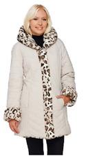 Dennis Basso Faux Fur & Water Resistant Puffer Reversible Coat, Size XXS, $169