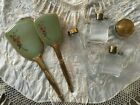 Antique+Train+Case+Women%27s+Toiletry+Containers+Mirror+and+Brush